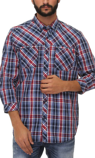 39708 Plaids Long Sleeves Shirt - Navy Blue & Burgundy