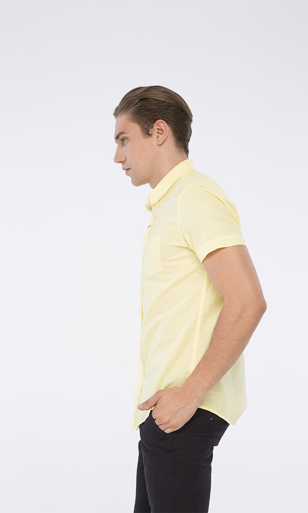 faux linen shirt-short sleeves