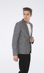 39752 Soild Blazer - Heather Navy Blue