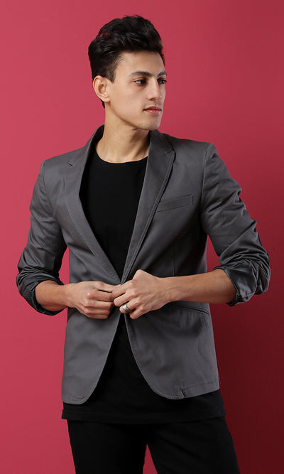 39759 Basic One Button Classic Blazer With Elbow Patch - Dark Grey
