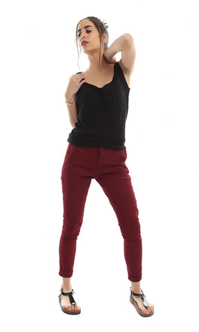 39769 Solid Skinny Pants - Burgundy