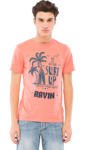 39845 Printed Casual T-Shirt - Heather Light Red