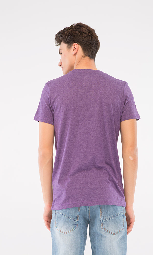 Text Print Heather T-Shirt-Round Neck-Short Sleeves