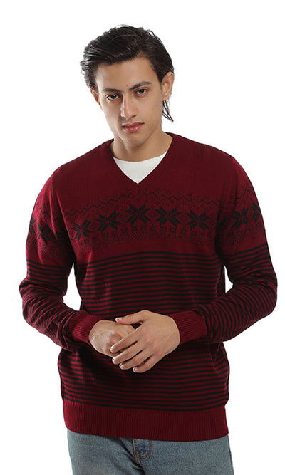 41500 Patterned V-Neck Casual Pullover - Burgundy