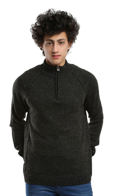 41502 Plain Zipped Collar Pullover - Heather Black