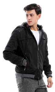 Waterproof Solid Hooded Neck Black Jacket With Zipped Pockets