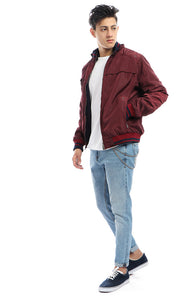 Waterproof Maroon Jacket With Two Zipped Pockets