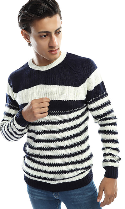 41521 Striped Men Pullover - Navy Blue &White