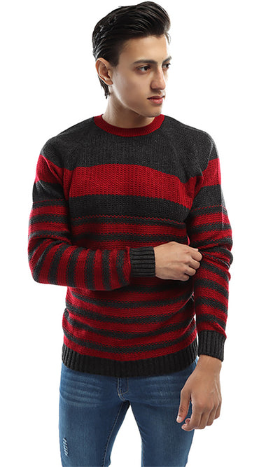 41522 Striped Men Pullover - Grey &Maroon
