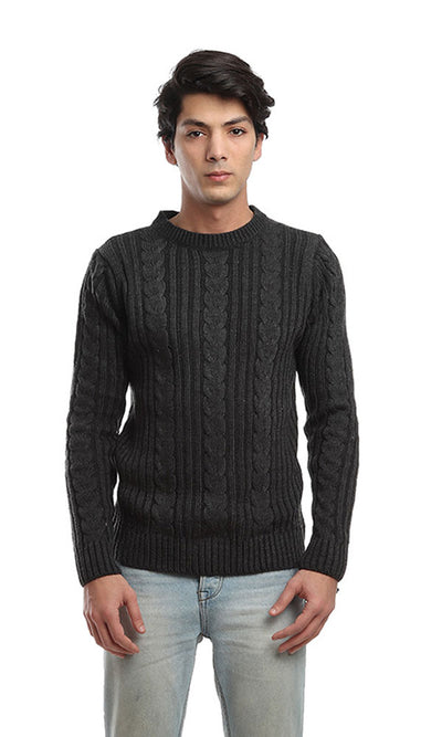 41527 Rounded Casual Pullover - Dark Grey