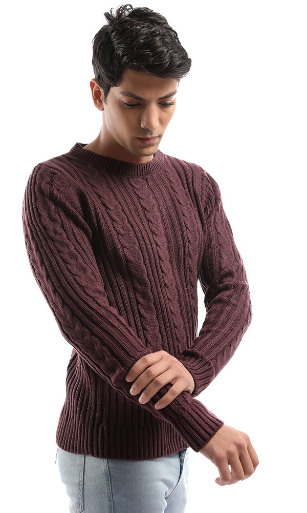 41528 Rounded Deep Purple Long Sleeves Pullover