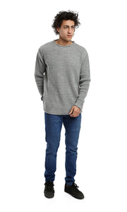 41534 Rounded Long Sleeves Solid Pullover - Heather Grey