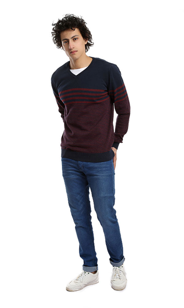 Long Sleeves Men Pullover - Navy Blue