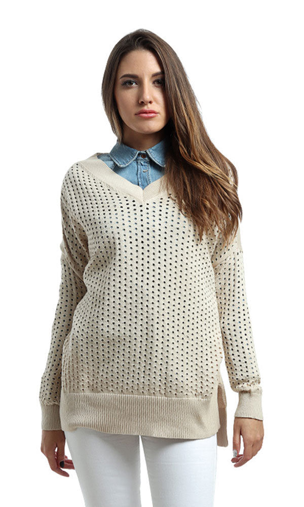 Full Sleeves Casual Pullover - Beige
