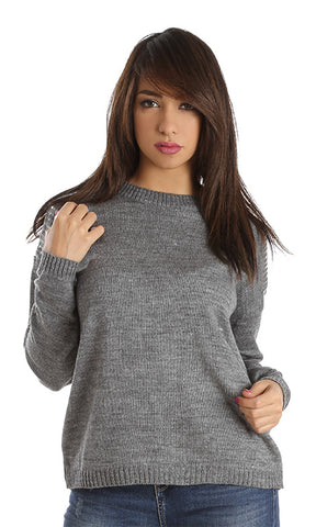 41547 Strassed Shoulder Pullover - Grey