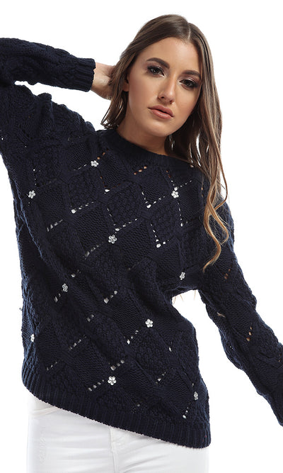 41549 Heavy Navy Blue Strassed Knit Pullover