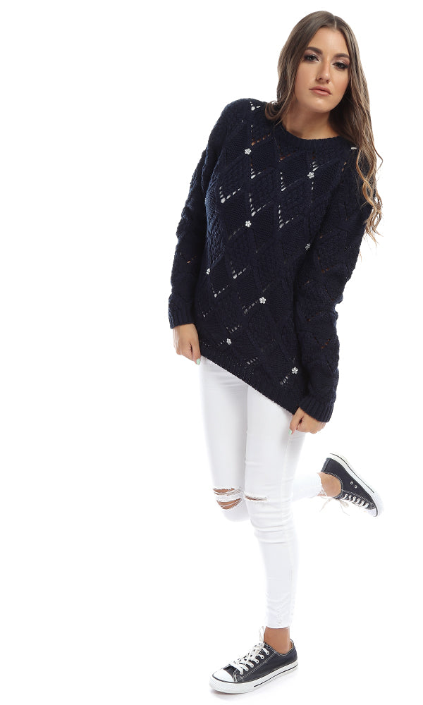 knitted pullover - navy blue