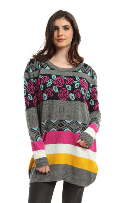 41552 Patterned Casual Long Sleeves Pullover - Multicolour