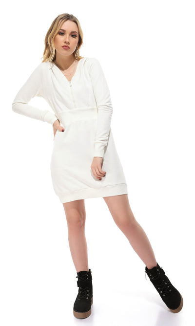 41567 Elastic Waist Zipped Neck Dress - Off-White