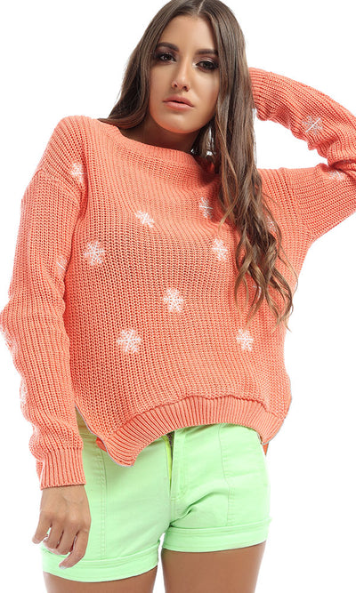 41578 Side Zipped Kinitted Stylish Orange Pullover