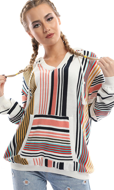41582 Striped Hoodied Pullover With Cape - Multicolour