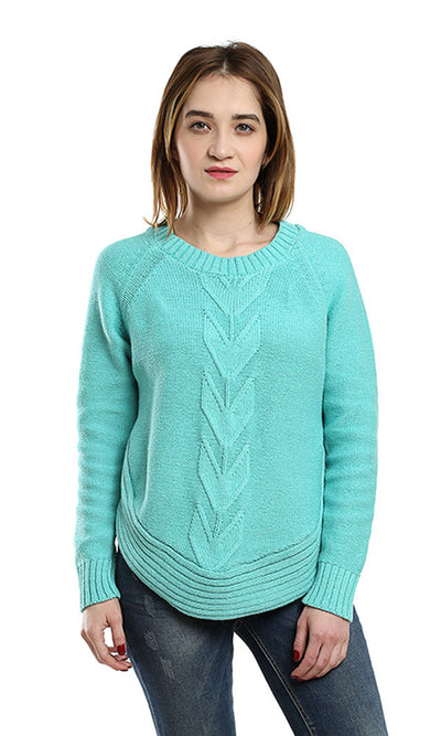 41584 Casual Plain Pullover - Mint Green