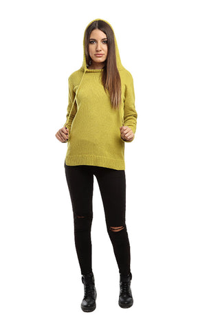 41586 Casual Full Sleeves Hoodied Pullover - Yellow