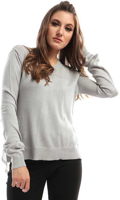 41595 Solid Grey Pullover With Shirt End