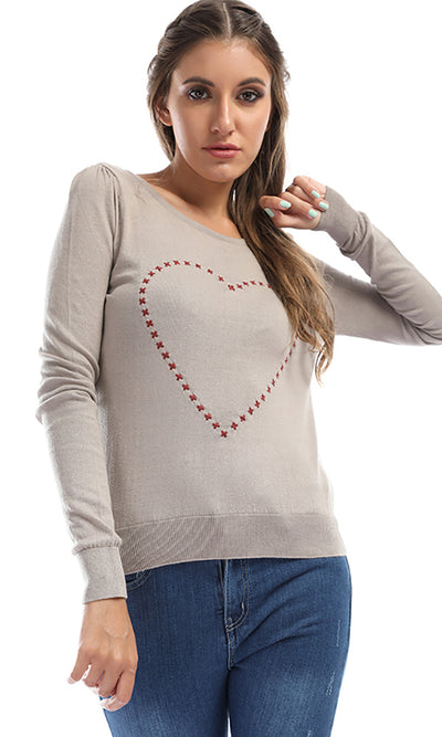41599 Heart Slip On Casual Pullover - Khakhi