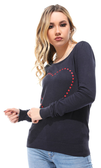 41600 Stitched Crosses Heart Navy Blue Pullover