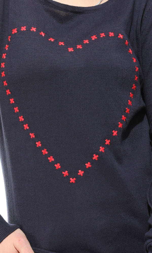Heart Pullover - Navy Blue