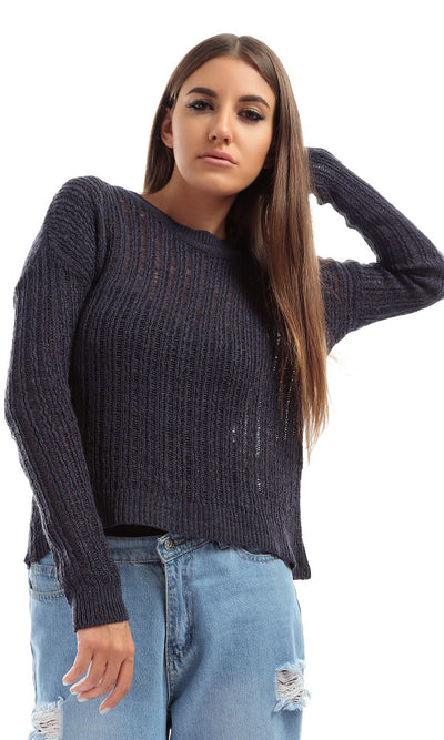 41611 Sleeve Knit Sweater - Navy Blue