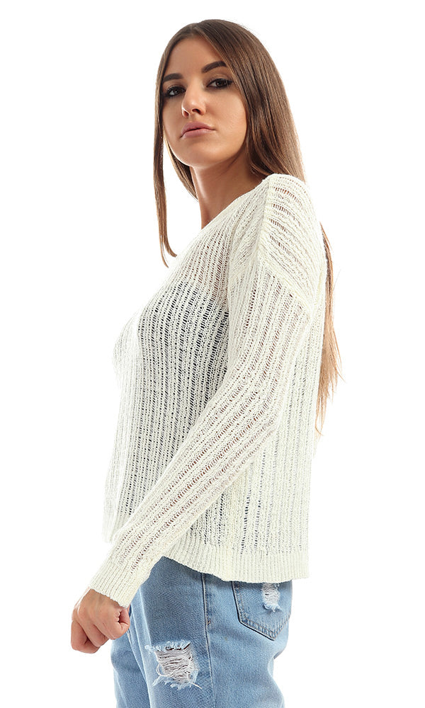 Sleeve Knit Off White Sweater