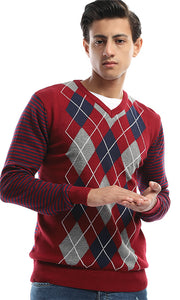 41623 Fine Knit Striped Tri-Tone Pullover - Maroon & Grey & Navy Blue