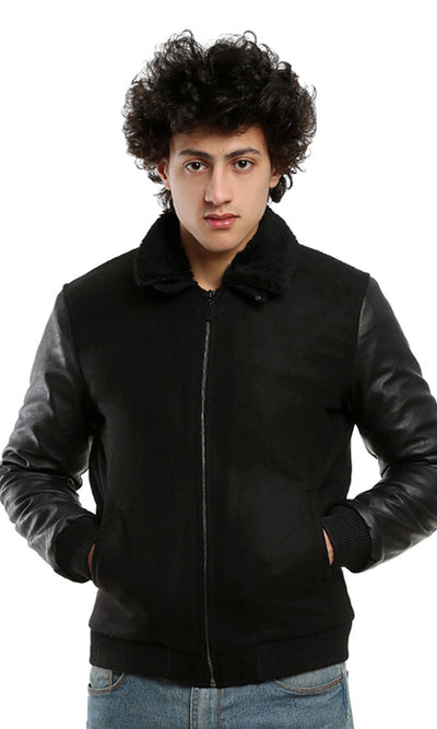 41632 Suede Zipped Casual Jacket - Black