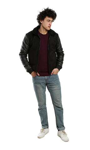 Suede Zipped Casual Jacket - Black
