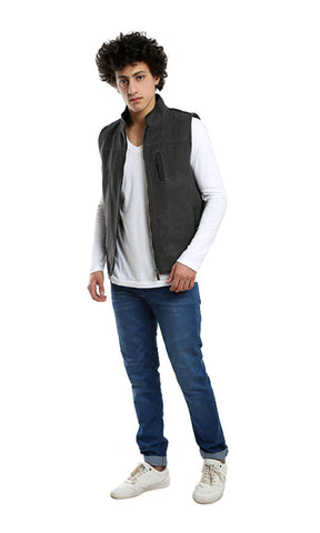 Zipped Plain Casual Vest - Dark Grey