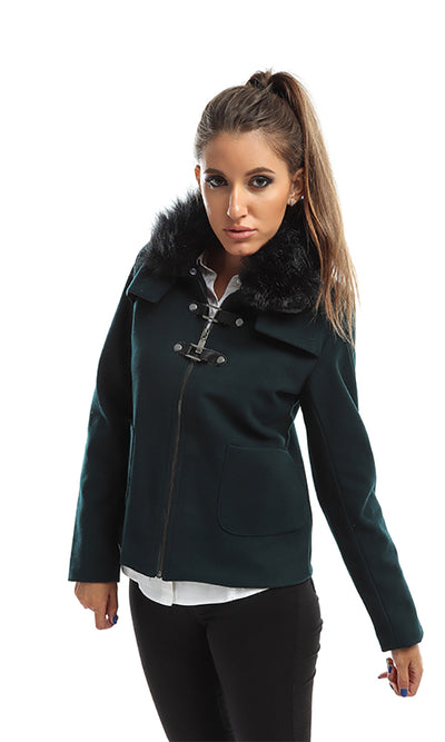 41644 Solid Jacket With Fur - Forest Green