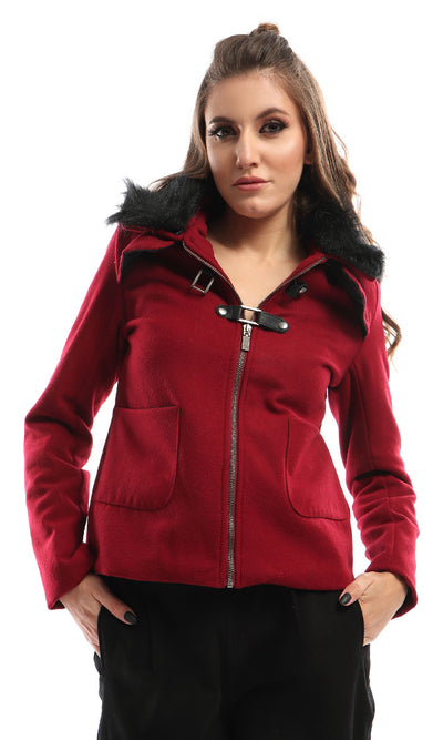 41645 Magnetic Buttons Zipped Burgundy Jacket With Fir Collar