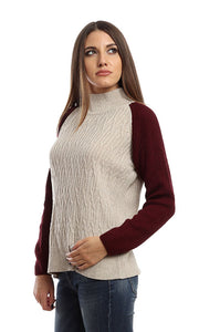 41650 Turtle Neck Plain Pullover - Beige & Burgundy
