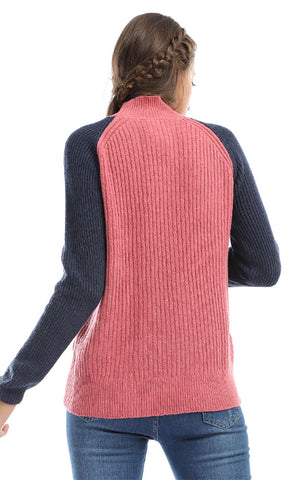 Turtle Neck Long Sleeves Wool Pullover - Pink & Navy Blue