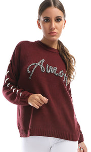 41653 Ruched Hem-Amore-Print Long Sleeves Pullover - Maroon