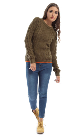 Solid Casual Long Sleeves Winter Pullover - Khakhi