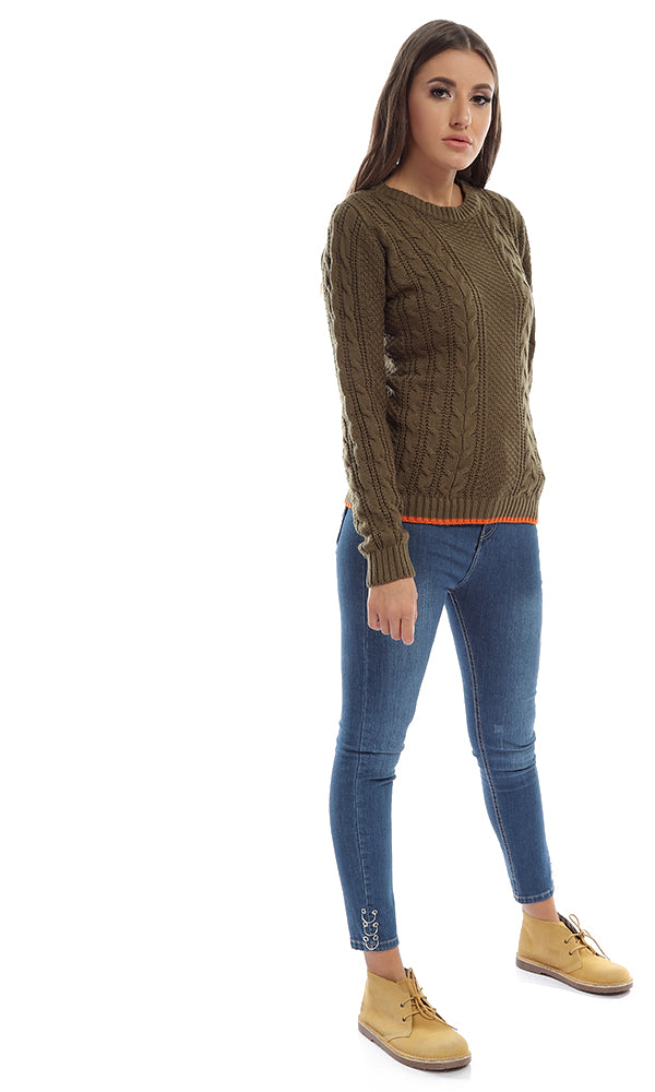 41654 Solid Casual Long Sleeves Winter Pullover - Khakhi