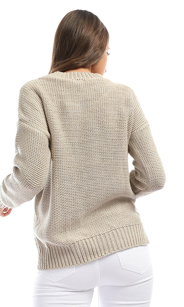 41658 Ruched Hem High To Low Beige Plain Knit Pullover