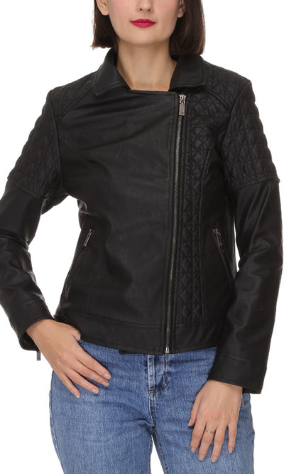 41661 Zipper Casual Jacket - Black