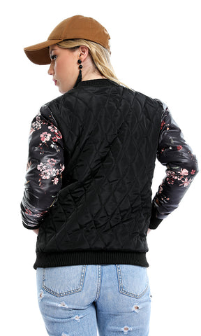 41677 Bomber Floral Sleeves Casual Zipped Black Jacket