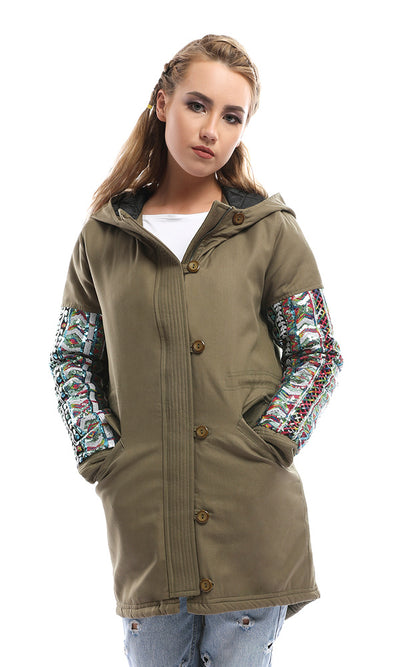 41678 Strassed Sleeves Buttoned Olive Coat