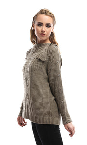 41686 Buttoned Turn-Down Chic Collar Khaki Pullover