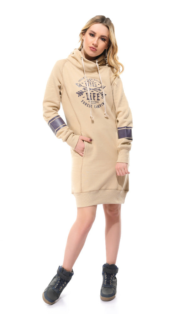 printed casual hoodies short dress - beige